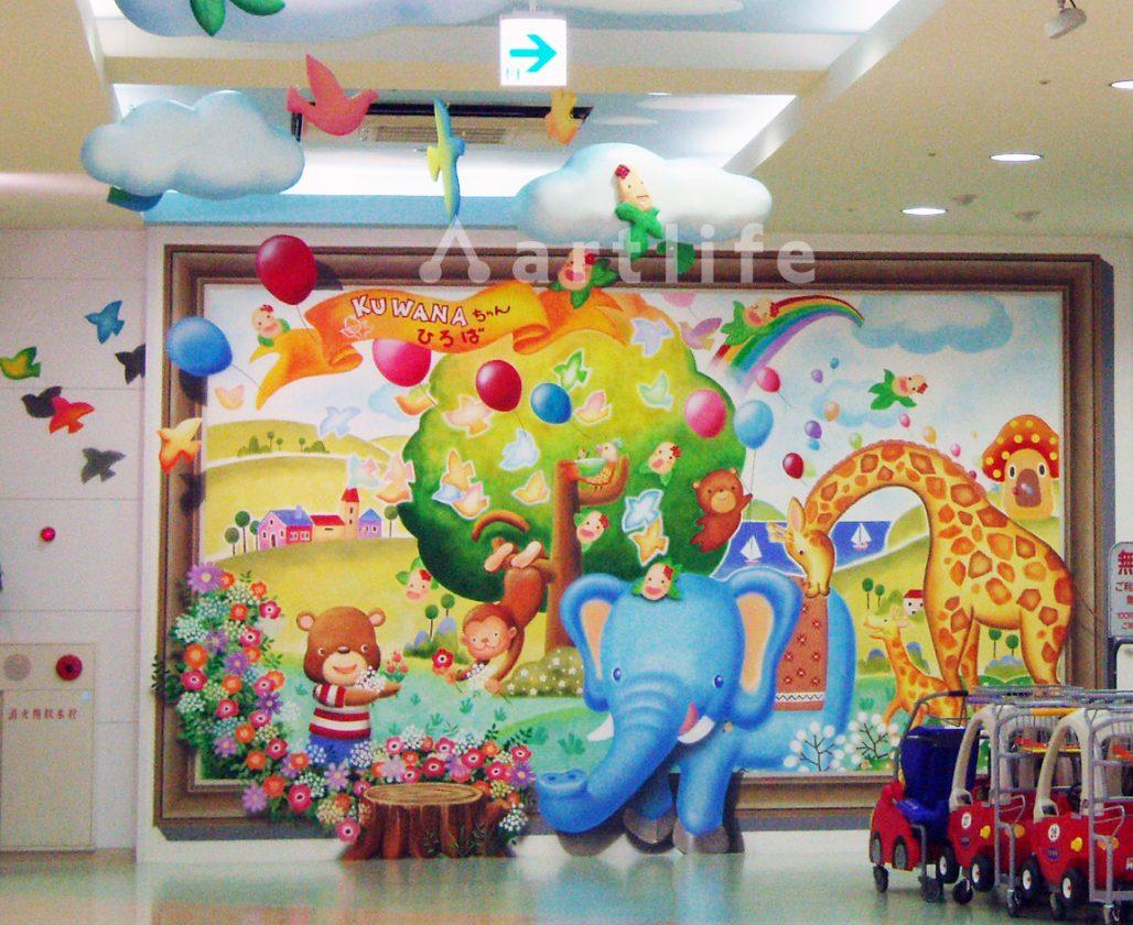象の飛び出す壁画