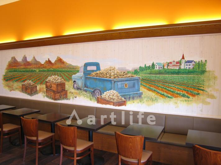 ハンバーガーショップ 壁画