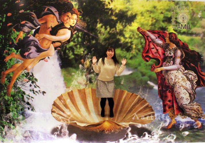 バレンタインデー チョコレート3Dトリックアート アミュプラザ鹿児島TrickHeart 「ビーナスの誕生」