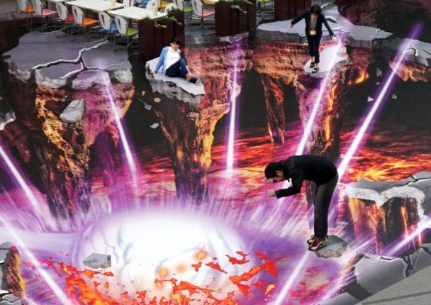サッポロファクトリー3Dトリックアート。 ドラゴンボールZ復活の「F」のコラボ企画